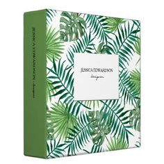 Modern watercolor tropical leaves pattern personal binder - watercolor gifts style unique ideas diy