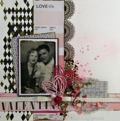 Love Life ~ Arty heritage romance page. The pink and black color palette highlights the high contrast b/w photo perfectly.