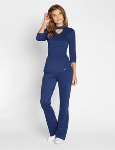 Mock Neck Top in Estate Navy Blue - Medical Scrubs by Jaanuu Dental Scrubs, Cute Medical Scrubs, Cute Nursing Scrubs, Dental Uniforms, Nursing Uniforms, Stylish Scrubs, Scrubs Outfit, Cute Scrubs Uniform, Nursing Clothes