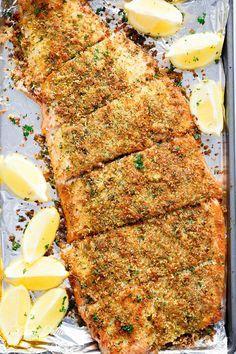 Crispy Garlic Parmesan Salmon | http://cafedelites.com