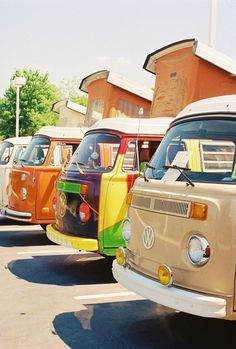 #Campers all lined up in a row! #Volkswagen #Classic #VW #Cute #Fun #RoadTrip