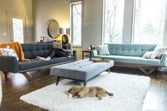 Astro Sofas and Astro Ottoman in client's home - photo cred: Qube Eleven / Dialect Design