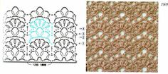 Lacy Crochet Stitch  with pattern chart.... Single row pattern repeats would make a dainty scalloped edging !