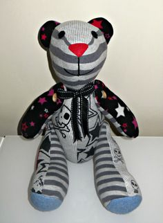 A gorgeous memory bear made from a boys favourite outgrown clothing & little pieces of his baby blanket <3 www.treasured-teds.co.uk