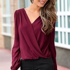 NEW Women's Loose Long Sleeve Chiffon Casual Blouse Shirt Tops Fashion Blouse #Unbranded #Blouse #Casual