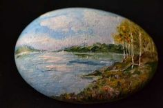 fall colors, landscape painted on rock