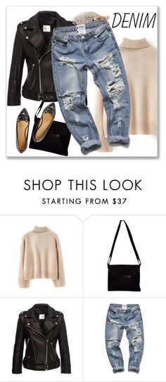 Distressed Denim by andrejae on Polyvore featuring WithChic, Charlotte Olympia, Bottega Veneta and distresseddenim