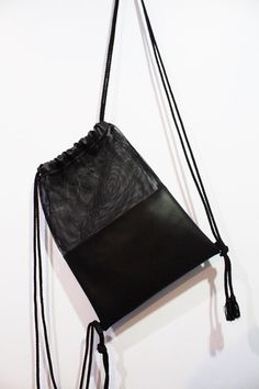 Black & White Mesh Leather Drawstring Bag by pingypearshop