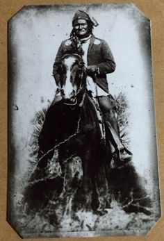 Chief apache Geronimo on horseback in in a striking portrait made by the Tombstone-based photographer Camillus Sidney Fly.