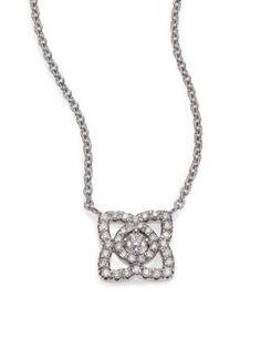 De Beers - Enchanted Lotus Diamond & 18K White Gold Mini Pendant Necklace - Saks.com
