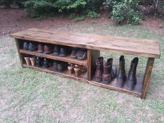 Wood Bench - Rustic Shoe Bench - Entryway Bench - Boot Bench  A sturdy and classic rustic style bench with space for shoes & boots! This is a longer version of our popular Rustic Boot Bench. We build each bench by hand from start to finish. Constructed from solid pine and stained in Dark Walnut, this storage bench is perfect for your mud room, hallway, or foyer. Also great at the end of a bed. All assembly hardware is hidden from view, this bench can be dressed up or down!  Measures 60 Long…