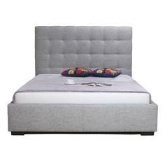 Belle Storage Bed King Light Grey Fabric | Products | MOE'S Canada