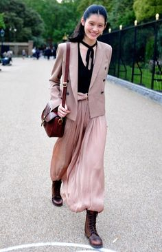 Discover this look wearing Light Pink Dresses, Dark Brown Boots, Light Pink Blazers, Maroon Bags - Vintage mix by catti styled for Vintage, Everyday in the Winter Light Pink Blazers, Ming Xi, Bad Fashion, Chinese Model, Models Off Duty, Victoria Secret Fashion Show, Model Photos, Chic Outfits, Ready To Wear