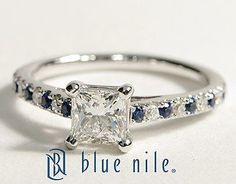 Micropavé Sapphire and Princess Cut Diamond Petite Cathedral Engagement Ring in 14k White Gold #BlueNile