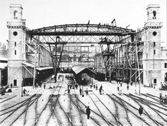 Building of Zürich Main Station in 1870