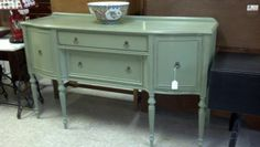 Beautiful vintage buffet...pretty green. @ second avenue consignment.