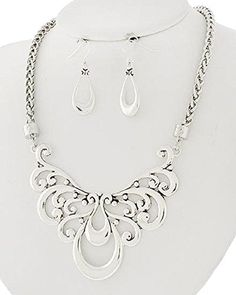 Beautiful Brighton Bay Contemporary Filligree Swirl Collar Statement Bib Necklace Earring Set ** Visit the image link more details.