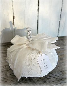 For a sophisticated look, try decorating with white pumpkins for your Halloween, Fall or Thanksgiving table or fireplace mantel. Velvet Pumpkins, Fabric Pumpkins, White Pumpkins, Fall Pumpkins, Halloween Pumpkins, Fall Halloween, Halloween Crafts, Halloween Decorations, Wooden Pumpkins