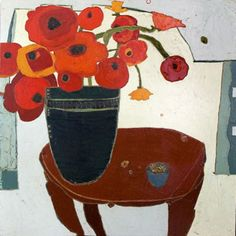 """Poppies in Stripe Vase on Antique Table by Karen Tusinski, oil on canvas, 48 x 48"""" 