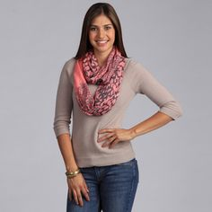 @Overstock.com - Peach Couture Coral Outlined Floral Printed Infinity Loop Scarf - This trendy infinity scarf features a fun floral print and layered look. With lightweight material and a versatile color, this is the perfect scarf for any occasion.  http://www.overstock.com/Clothing-Shoes/Peach-Couture-Coral-Outlined-Floral-Printed-Infinity-Loop-Scarf/7983943/product.html?CID=214117 $25.99