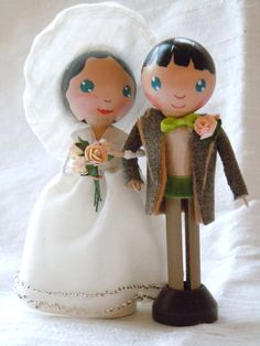 Him and Her  Clothespin Peg Doll Wedding Cake by PeggottyPoppets, $120.00
