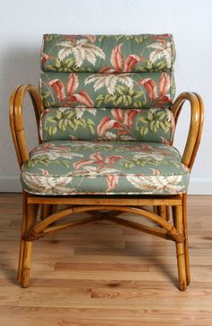 Gorgeous Ficks Reed Co. lounge chair with original MCM red, green and white leaf pattern cushions.