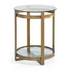 Retro Glitz Glass/ Metal End Table