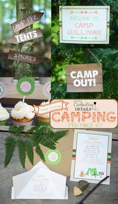 Camping Printable Birthday Party Kit & Invitation- DIY/Customize Editable in Adobe Reader via Etsy