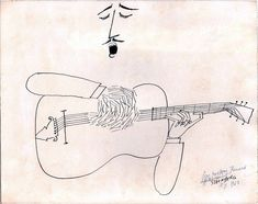 The Guitarist drawing by Saul Steinberg, 1963.