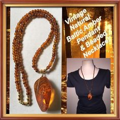 """VTG Natural Baltic Amber Pendant & Beaded Necklace Vintage Large Natural Baltic Amber Pendant & Beaded Necklace! Features a beautiful large polished raw Amber wrapped pendant (2 1/2"""" long X 1 1/4"""" wide) strung with 60 - 4-5mm natural Baltic Amber beads, gold tone spacer beads & twist closure. Necklace itself measures 13"""" long & 16"""" long with pendant. Rare solid, nat piece of Amber that has not be reworked or reconstituted in any way. Total wt of set 38.92 gr. Was restrung as orig thread was…"""