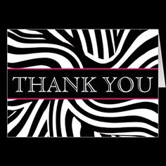 Zebra Print Thank You Notecard by expressyoursoul