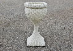 Wicker Plant Stand, French Country Woven Wicker Rattan Wood Bottom Planter, Shabby Chic Beachy White Pedestal Fern Stand, Wedding Side Table