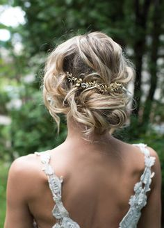 Soft boho wedding hair up with gold halo leaf detail vine