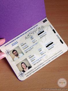 Wedding Passport with mug shots! designed and printed by www.madebyhol.co.uk