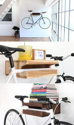 Bike Rack/Book Shelf   12 Space-Saving Bike Rack Solutions