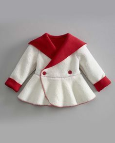 Chasing Fireflies red and white swing coat for ice skating. Girl Doll Clothes, Girl Dolls, Toddler Outfits, Kids Outfits, Baby Dress Patterns, Baby Kind, Baby Sweaters, Little Girl Dresses, Baby Sewing