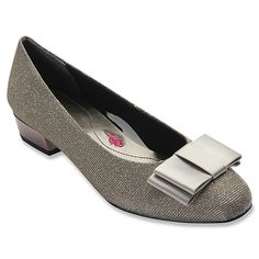 Ros Hommerson Women'S Teddi Leather Slip On Classic Heels Silver Glitter 74021 Silver Glitter Heels, Silver Shoes, Casual Heels, Low Heels, Drew Shoes, Ros Hommerson, Wide Width Shoes, Comfortable Heels, Ladies Slips