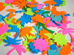 100 bright  colorful summer confetti umbrella crab palm by Wcards, $3.00