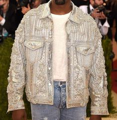 Balmain Custom Embellished Denim Jacket as seen on Kanye West