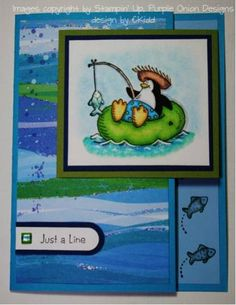 Penguin Just a Line using Stampin Up Penguin Paradise.