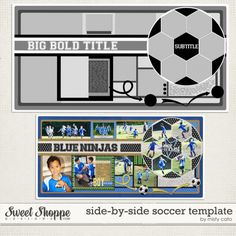 Love the soccer ball photo frames Baby Scrapbook, School Scrapbook, Scrapbook Paper Crafts, Scrapbook Albums, Scrapbook Sketches, Scrapbook Page Layouts, Layout Template, Digital Scrapbooking, Scrapbooking Ideas
