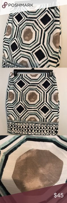 🆕Ann Taylor Loft  watercolor boho tribal skirt Or just 99% cotton and 1% spandex zip it back skirt features all over water color design. Wear a work of art! LOFT Skirts