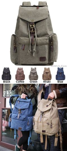 Retro Flap Metal Lock Large Capacity Backpack Travel Backpack Canvas Men s  School Rucksack for big sale 02d5846b87e5a