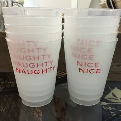 Naughty or Nice frost flex conversation starter cups at The Monogram Shop in Baltimore.
