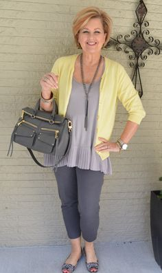 50 Is Not Old | Make Life Easier | Yellow + Gray | Fashion over 40 for the everyday woman