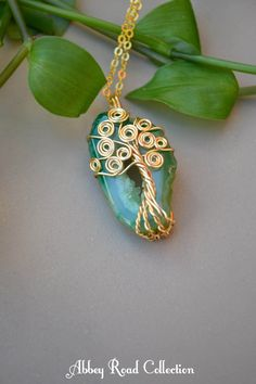 Small Tree of Life Pendant. Green Agate Gemstone Necklace. Gold Boho Jewelry. Crystal Tree Necklace. Small Gemstone Pendant. Gift for Her by AbbeyRoadCollection on Etsy