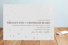"""Thrilling"" - Elegant, Formal Foil-pressed Save The Date Cards in Gold by Design…"