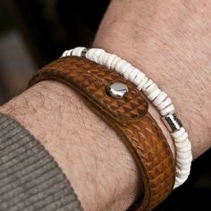 Wheels Brown Leather Bracelet by 877