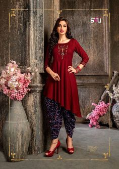 MRP :- Stylish Rayon Embroidered Asymmetric Party Wear Kurtis Details: Description: It has 1 Piece of Kurti Fabric : Rayon Size : Length : 46 Pakistani Dresses, Indian Dresses, Indian Designer Outfits, Designer Dresses, Stylish Dresses, Casual Dresses, Dresses Dresses, Dress Designs For Girls, Salwar Kurta
