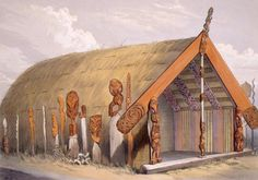 Maketu house at Otawhao Pa, built by Puatia, to commemorate the taking of Maketu.